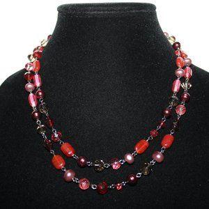 Vintagejelyfish Jewelry - Gun metal black and red rose pink layered necklace